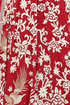 Fringe blouse with Embroidered Lehenga set