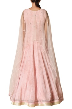 Embroidered gown with cape detail