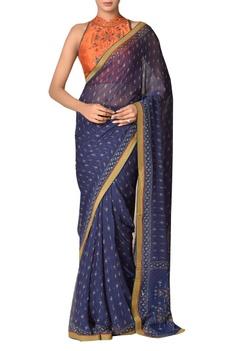 Geometric printed sari with blouse