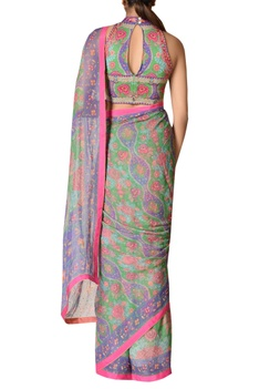 Hand embroidered sari with blouse