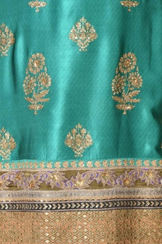 Embroidered straight kurta with churidar & dupatta