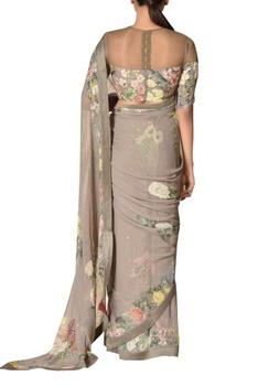 Floral print sari with blouse