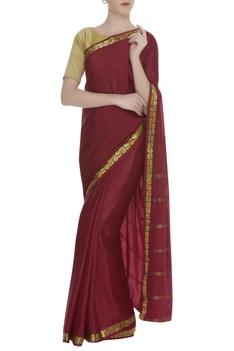 Kanjeevaram sari with handwoven border & unstitched blouse