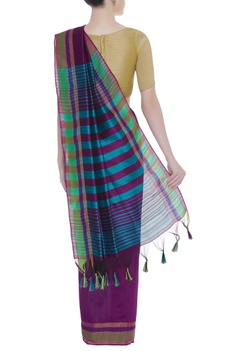 Stripe pattern sari with woven border & unstitched blouse