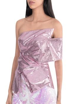 Two toned metallic off shoulder draped top
