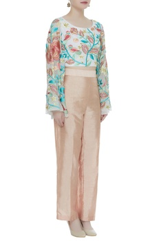 Floral resham embroidered blouse with pants