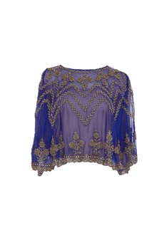 Sheer pearl embroidered floral cape