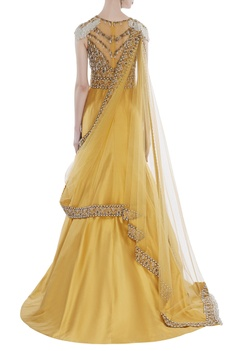Mermaid gown with attached drape