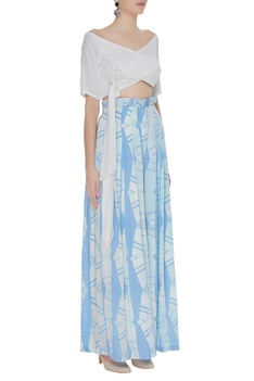 Hand block printed pants with wrap crop top