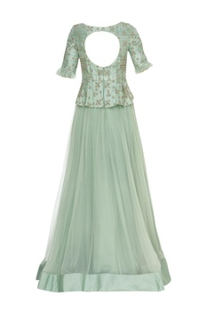 Peplum zardosi & thread hand embroidered gown