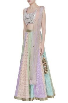 Mirror Embroidered blouse with panelled lehenga set