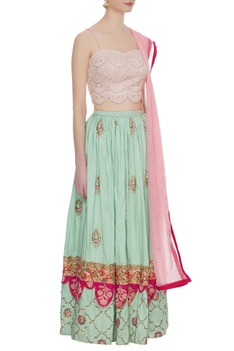 Pink bustier with pure raw silk pearl 3D embroidered lehenga set