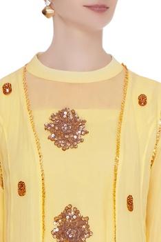 Pastel yellow georgette zardozi kurta set