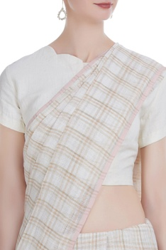 Hand woven linen sari with checkered detail