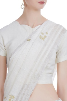 Linen handwoven sari with flower print