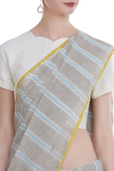 Crome detailed handwoven linen sari