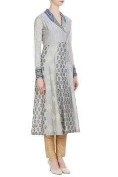 Block printed chanderi collar style anarkali