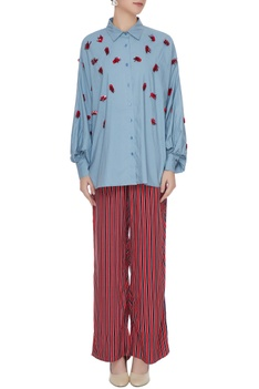 Blue poplin hand embroidered collar shirt