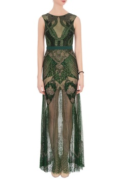 Green sequin & bead embellished gown