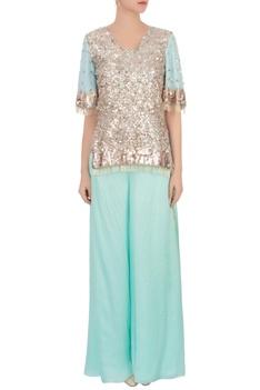 Aqua blue sequin top & palazzos