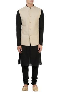Beige & blue reversible nehru jacket