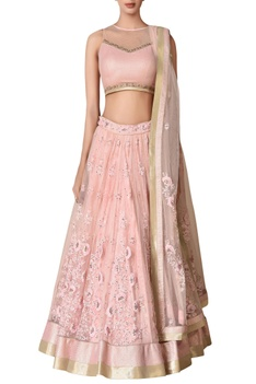Pastel pink floral tonal embroidered lehenga set