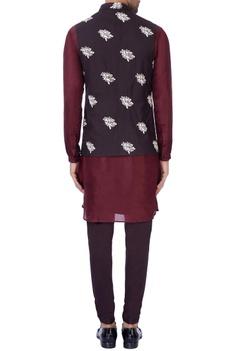 Purple bundi jacket & silk kurta