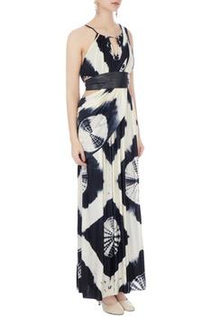 Black & white gown with saree drape