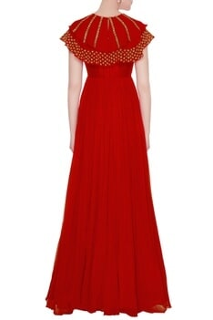 Red layered cape gown