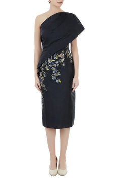 Black tafetta hand crafted colorful sequin, bead work & nakshi toga draped dress