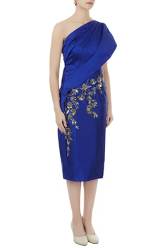 Royal blue tafetta hand crafted colorful sequin, bead work & nakshi toga draped dress