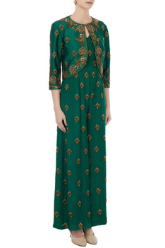 Emerald green crepe & tafetta hand crafted nakshi & bead work jumpsuit with jacket