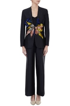 Hand crafted colorful 3D sequin blazer with pants