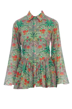 Green floral printed ruffle blouse