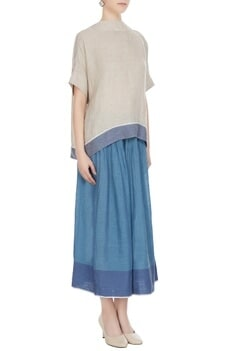 Natural linen solid blouse with blue border