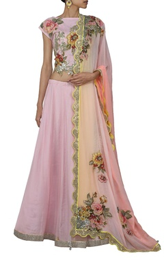 powder pink floral applique lehenga