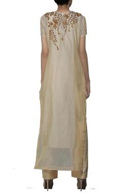 Beige embroidered kurta set with stole