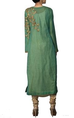 Green gota embroidered kurta with churidar & stole