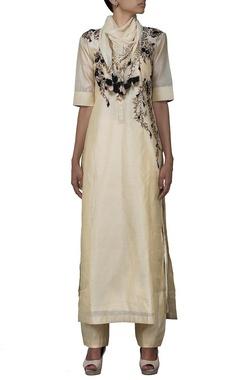 Beige embroidered long kurta with churidaar & stole
