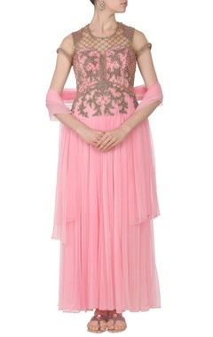 Soft pink pearl embroidered anarkali set