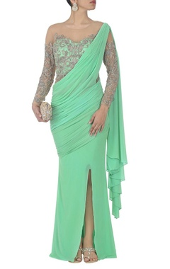 mint green embroidered sari gown