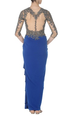 Royal blue gunmetal embroidered sari gown