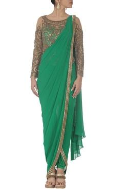 Emerald green embroidered dhoti sari