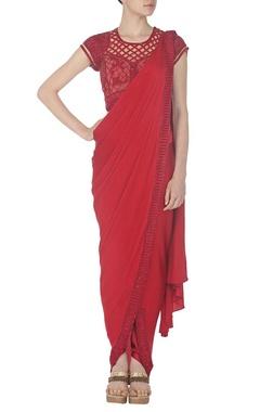 Ruby embroidered dhoti sari