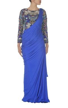 Multi colored cutwork sari gown