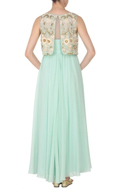 sea blue embroidered gown