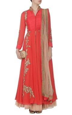 Coral zardosi embroidered anarkali with tulle skirt