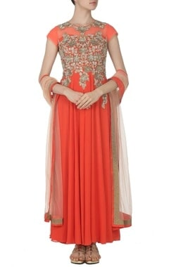 Coral zardosi embroidered kurta set