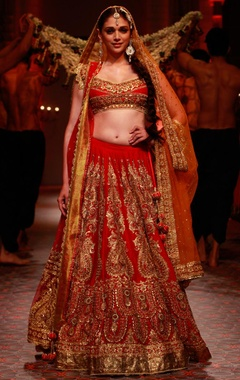 Red embroidered lehenga set with orange dupatta