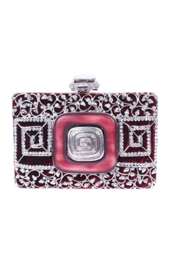 Maroon and silver embellished clutch